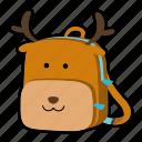 animal, backpack, character, deer, kids, kindergarten, school bag icon