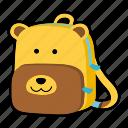animal, backpack, bear, character, kids, kindergarten, school bag icon