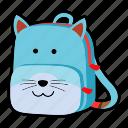 animal, backpack, cat, character, kids, kindergarten, school bag icon