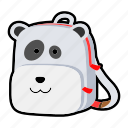animal, backpack, character, kids, kindergarten, panda, school bag icon