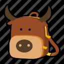 animal, backpack, buffalo, bull, character, kindergarten, school bag icon