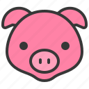 animal, cute, face, farm animal, head, pig, piglet icon