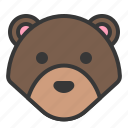 animal, bear, cute, forest, head, teddy bear, zoo icon