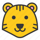 animal, face, forest, tiger, wild, zoo icon