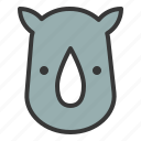 animal, face, head, rhinoceros, rhinos, wild, zoo icon