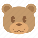 animal, bear, cute, grizzly, head, teddy, face icon
