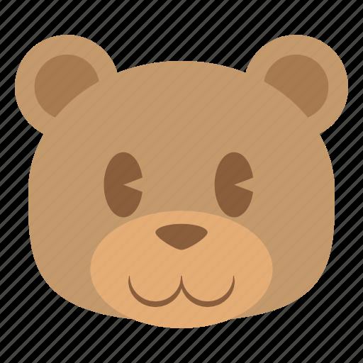 animal, bear, cute, face, grizzly, head, teddy icon