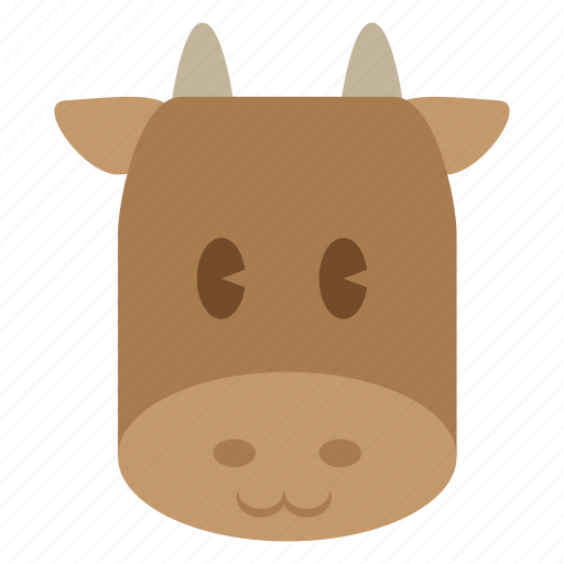 animal, bull, cattle, cow, cute, dairy, head icon