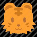 animal, avatar, cute, face, head, tiger, tora icon
