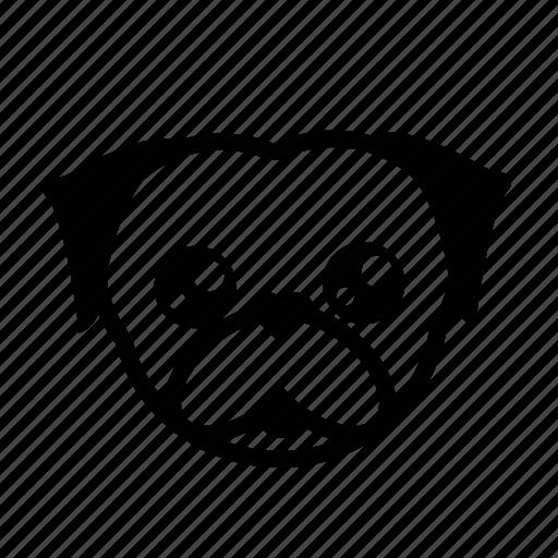 breed, dog, emoji, k9, pet, pug, puppy icon