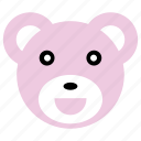 bear, cute, happy, pink, smile icon