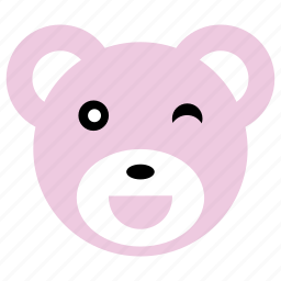 bear, blink, cute, happy, pink icon