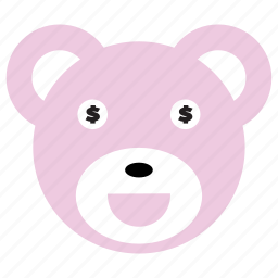 bear, cute, dollar, money, pink icon