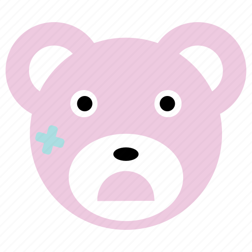 bear, cute, injured, pink icon