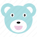 bear, cute, dollar, money, smile icon