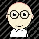 boy, cute, emoticon, expression, face, glasses, smiley icon