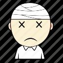 boy, cute, emoticon, expression, face, sad, sick icon