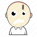 avatar, boy, cute, emoticon, expression, face, horror icon