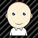 boy, curiouse, cute, emoticon, expression, face, smiley icon