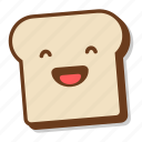 bread, breakfast, emoji, laugh, laughing, slice, toast icon