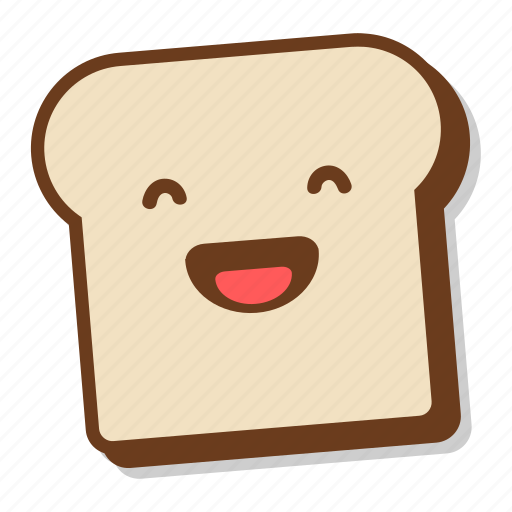 bread, breakfast, emoji, laugh, laughing, slice, toast icon