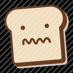 bread, breakfast, emoji, sick, slice, toast, unwell icon