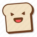 bread, breakfast, emoji, evil, laugh, slice, toast icon