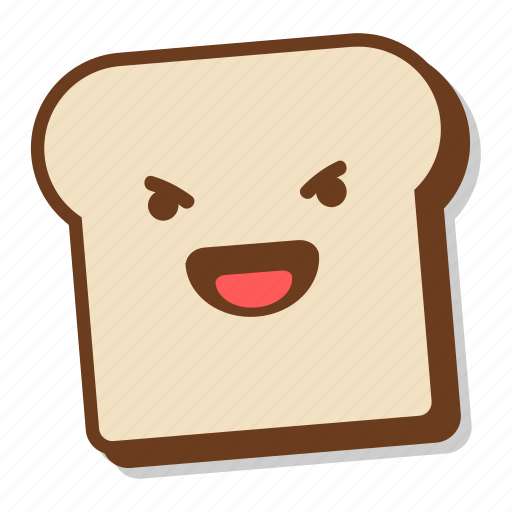'Cute Bread Slice Emoji In Different Expressions' by Akshar Pathak