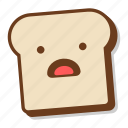 bread, breakfast, emoji, slice, toast, worried, worry icon