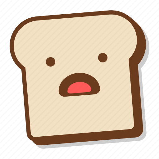 bread, breakfast, emoji, slice, toast, worried, worry icon