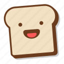 bread, breakfast, emoji, excited, happy, slice, toast icon