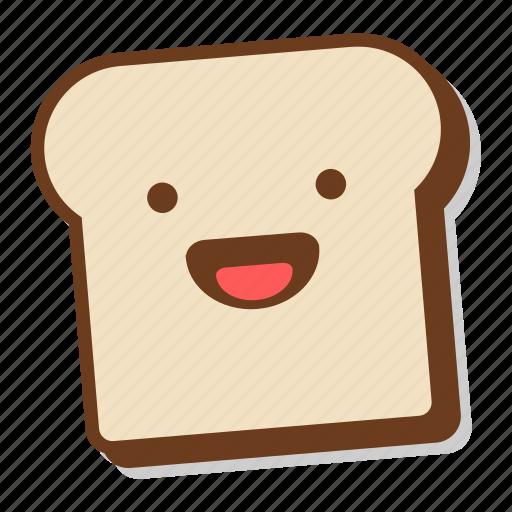 bread, breakfast, emoji, excited, happy, slice, toast icon