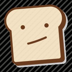 bored, boring, bread, breakfast, emoji, slice, toast icon