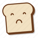 bad, bread, breakfast, emoji, slice, toast, upset icon