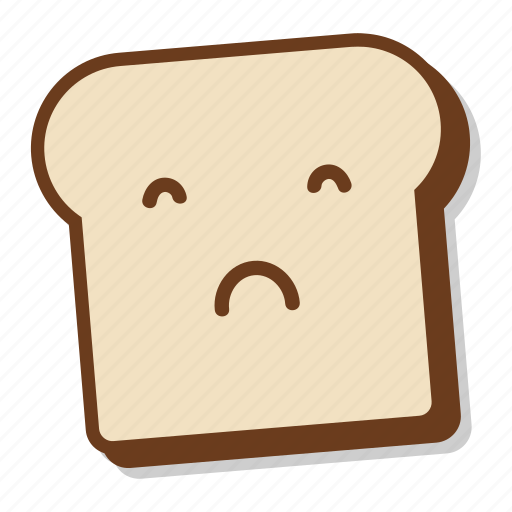 bad, bread, breakfast, emoji, slice, toast, upset icon