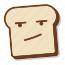 annoy, bored, bread, breakfast, emoji, slice, toast icon