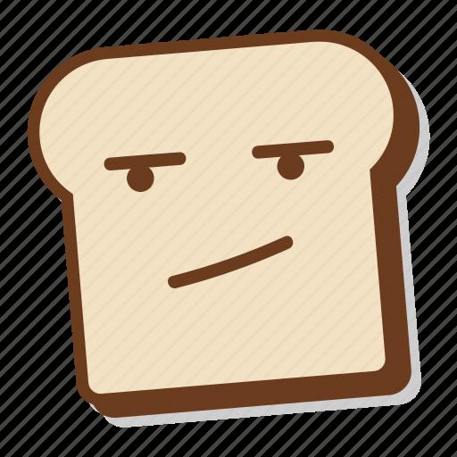 annoy, bored, bread, breakfast, emoji, slice, toast icon