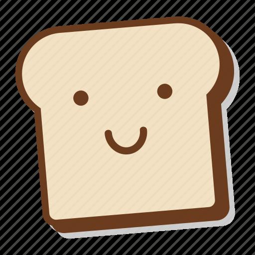 bread, breakfast, emoji, happy, slice, smile, toast icon