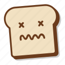 bad, bread, breakfast, dead, emoji, slice, toast icon