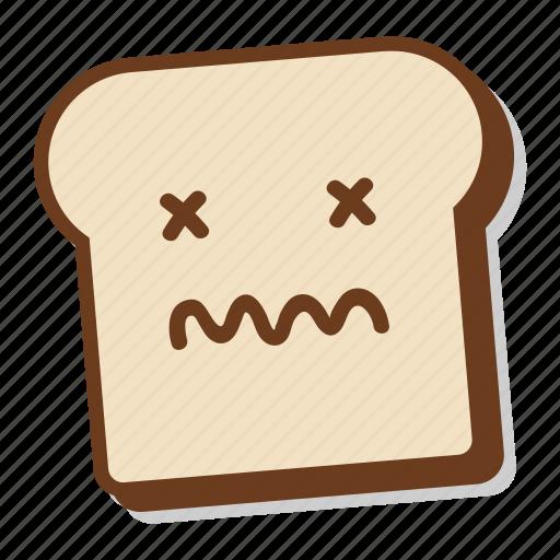 bad, bread, breakfast, dead, emoji, slice, toast icon