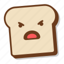 anger, bad, bread, breakfast, emoji, slice, toast icon