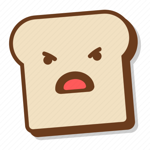 anger, bad, bread, breakfast, emoji, slice, toast icon
