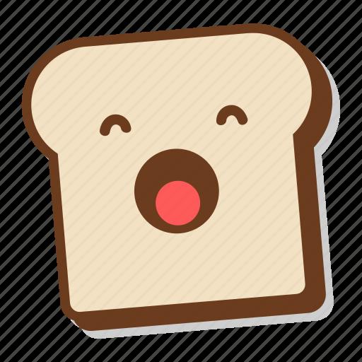 bread, breakfast, emoji, sleepy, slice, toast, yawn icon