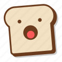 bread, breakfast, emoji, shock, slice, toast, yawn icon