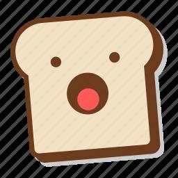 bread, breakfast, emoji, shock, slice, toast, yawn icon