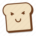 bread, breakfast, emoji, evil, grin, slice, toast icon