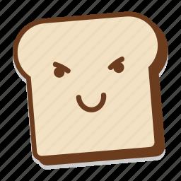 bread, breakfast, emoji, evil, grin, slice, toast icon