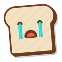 bread, breakfast, cry, crying, emoji, slice, toast icon