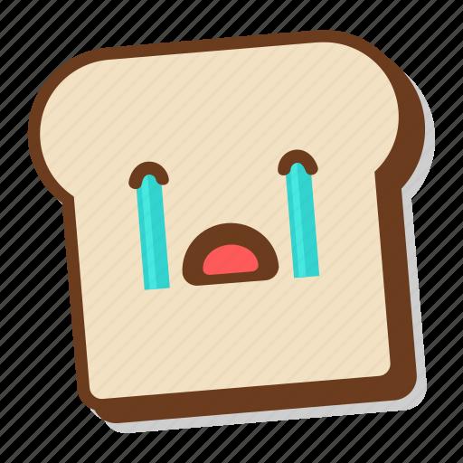 bread, breakfast, cry, crying, emoji, slice, toast icon