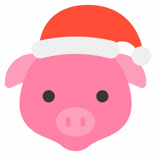 Christmas Pig.Cute Christmas Animal Wearing Hat Flat By Icon Stall